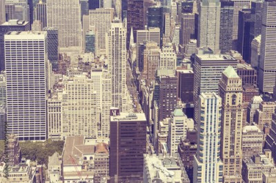 Fototapeta Vintage stylized picture of Manhattan, New York City.