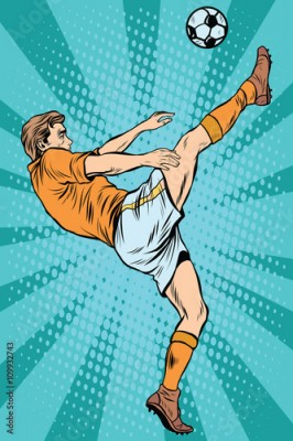 Fototapeta Football soccer player kick the ball