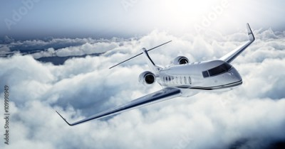 Fototapeta Realistic photo of White Luxury generic design private jet flying over the earth. Empty blue sky with white clouds at background. Business Travel Concept. Horizontal. 3d rendering