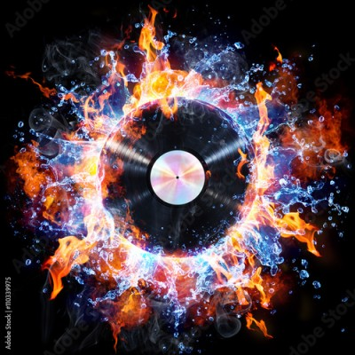 Fototapeta Vinyl Record With Fire And Water - Creative Rock And Roll