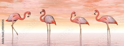 Panel Szklany Pink flamingos in water - 3D render