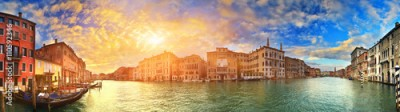 Fototapeta Panorama of Grand Canal at sunset, Venice, Italy
