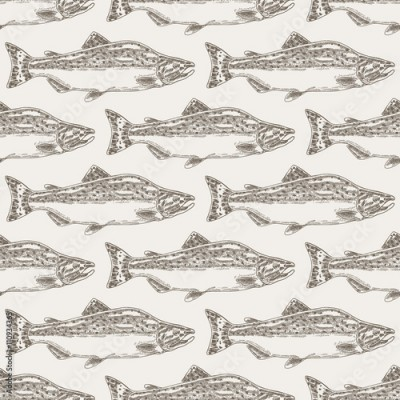 Obraz na Szkle Hand drawn salmon fish seamless background. Vector illustration