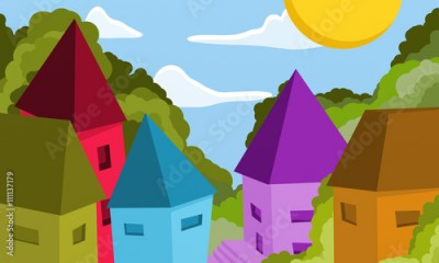 Fototapeta landscape with houses of many colors