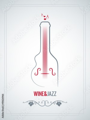 Obraz wine bottle jazz design vector background