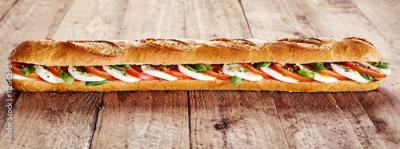 Obraz na Szkle Healthy crusty baguette with mozzarella and tomato
