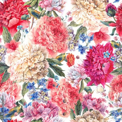 Obraz na Szkle Floral peonies seamless watercolor pattern