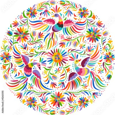 Fototapeta Mexican embroidery round pattern. Colorful and ornate ethnic pattern. Birds and flowers light background. Floral background with bright ethnic ornament.