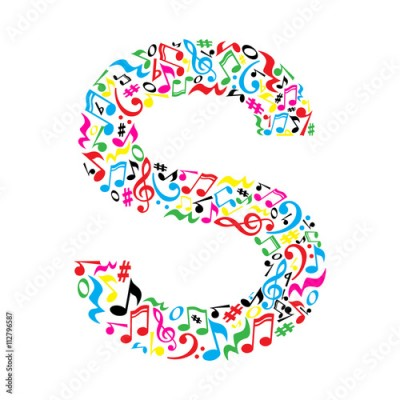 Fototapeta S letter made of colorful musical notes on white background. Alphabet for art school. Trendy font. Graphic decoration.