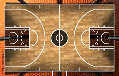Obraz na płótnie Realistic 3D illustration of a basketball court with wooden floor (parquet) and orange and black ball