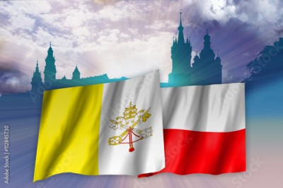 Fototapeta Flags of Poland and Vatican over Cracow landscape