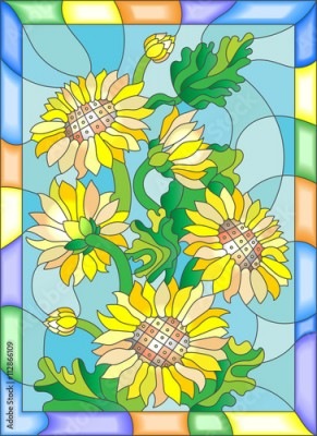 Fototapeta Illustration in stained glass style with flowers, buds and leaves of sunflowers