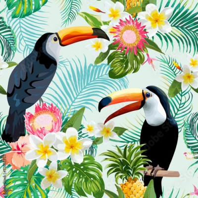 Obraz Tropical Flowers and Birds Background. Vintage Seamless Pattern.