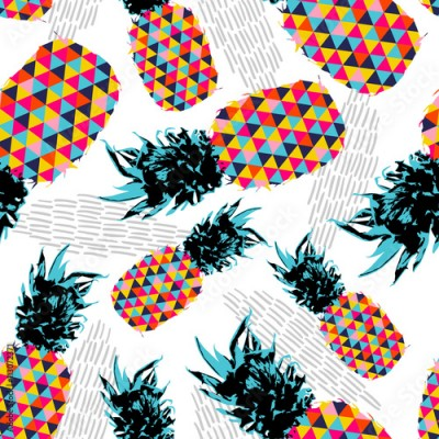 Panel Szklany Summer seamless pattern with color retro pineapple