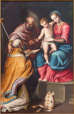 Fototapeta CREMONA, ITALY - MAY 24, 2016: The painting of Holy Family with the st. Nicholas in church Chiesa di Santa Agata by Bernardino Campi (1522 - 1591).