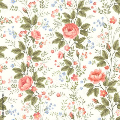 Fototapeta seamless floral pattern with roses