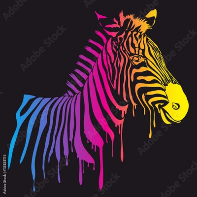 Plakat Vector rainbow zebra, abstract animal illustration. Safari zebra can be used for background, card, print materials