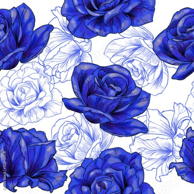 Obraz Blue roses .Vector seamless pattern