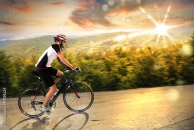 Obraz Cyclist at sunset
