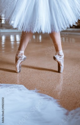 Fototapeta The close-up feet of young ballerina in pointe shoes