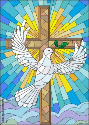 Naklejka Illustration with a cross and a dove in the stained glass style