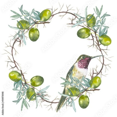 Plakat frame round green . wreath with watercolor branches of olives, hand drawn natural template