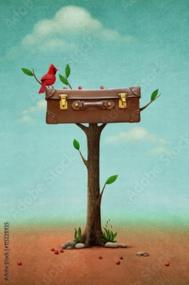 Plakat Fantasy illustration with red bird and vintage suitcase on tree