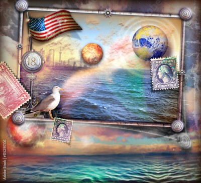 Obraz na Szkle Fairytales sea and vintage stamps