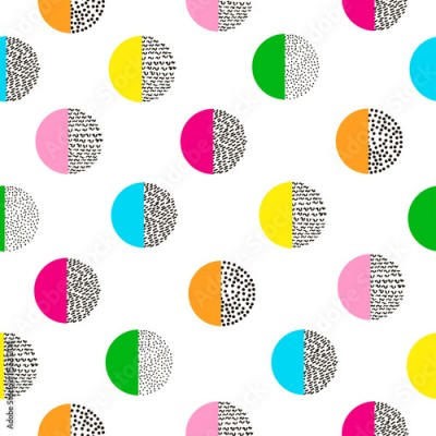Fototapeta Circles colorful seamless pattern. Bright background. 80's - 90'