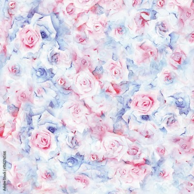 Obraz na płótnie Watercolor painting floral pink-blue background.