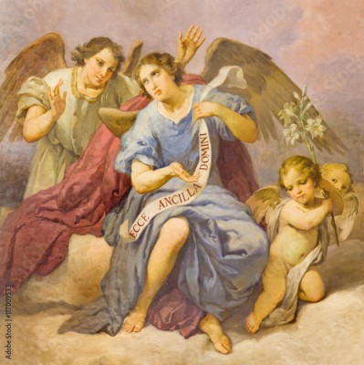 Fototapeta ROME, ITALY - MARCH 9, 2016: The fresco of angels in church Chiesa di Santa Maria in Aquiro (Our Lady of Lourdes chapel) by Domenico d Alessandro (1865).