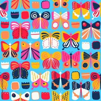 Fototapeta Seamless pattern with beautiful bright butterflies
