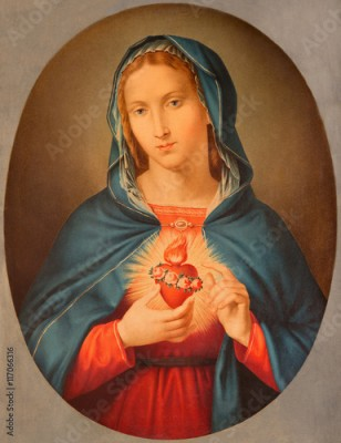 Plakat BRESCIA, ITALY - MAY 22, 2016: The old printed image of Heart of Virgin Mary in Chiesa di San Pietro in Olvieto from end of 19. cent. by unknown artist.
