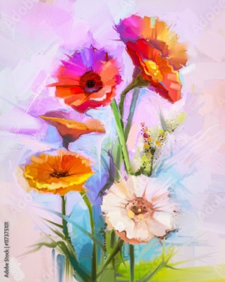 Obraz Abstract oil painting of spring flowers. Still life of yellow and red gerbera flower. Colorful Bouquet flowers with light purple, blue color background. Hand Painted floral modern Impressionist style