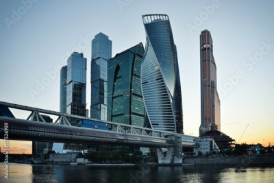 Fototapeta MOSCOW - August 04, 2016: Skyscrapers of Moscow city business ce