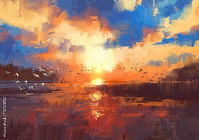 Obraz beautiful painting showing sunset on the lake,illustration