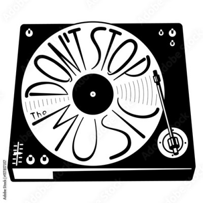 Fototapeta Retro turntable silhouette. Vector isolated illustration with vinyl records in black and white minimalistic style. Lettering hand-drawn composition Don't stop the music. Design element