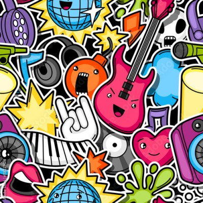 Plakat Music party kawaii seamless pattern. Musical instruments, symbols and objects in cartoon style