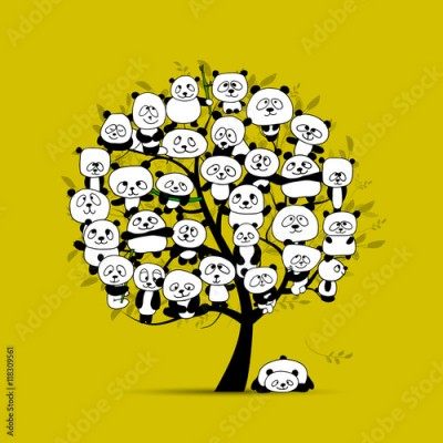 Fototapeta Tree with funny pandas, sketch for your design