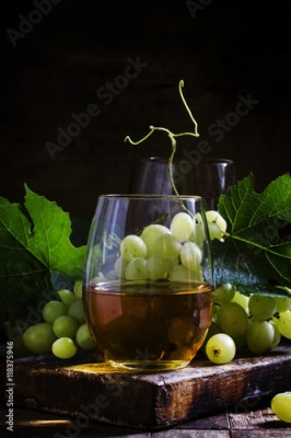 Obraz Wine and Grapes, old-fashioned still life, selective focus