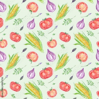 Fototapeta Watercolor Vegetable Pattern