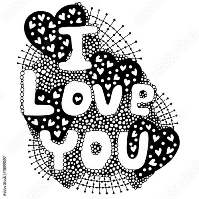 Plakat The vector word lettering I love you with heart