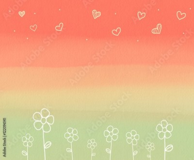 Fototapeta Flower and heart on pastel background watercolor illustration