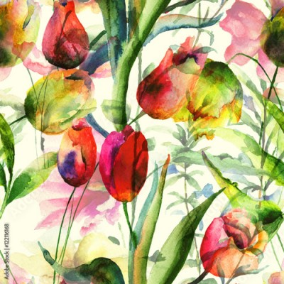 Obraz Seamless wallpaper with Tulips flowers