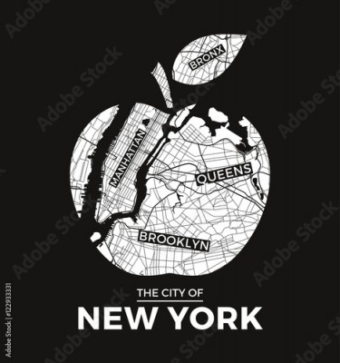 Fototapeta New York big apple t-shirt graphic design with city map. Tee shirt print, typography, label, badge, emblem. Vector illustration.