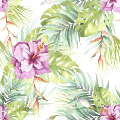 Fototapeta Seamless pattern with tropical flowers. Watercolor illustration.