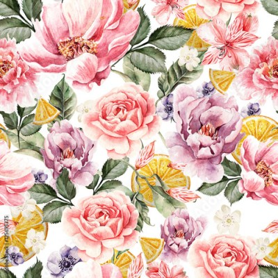 Obraz na Szkle Seamless pattern with watercolor flowers. Peonies, anemone, citrus and roses. Illustration