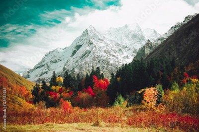 Plakat Autumn mountain landscape.