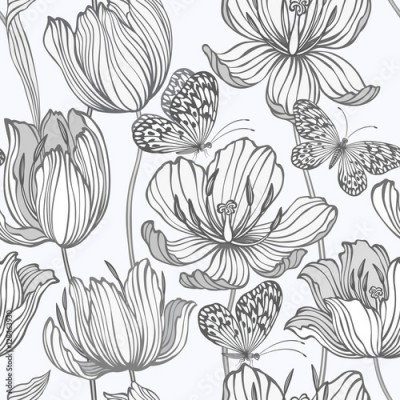 Fototapeta seamless monochrome pattern with tulips and butterflies