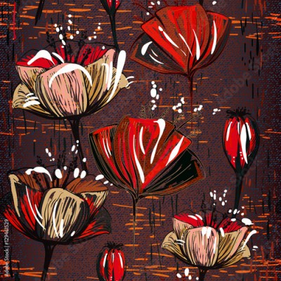 Fototapeta Chocolate seamless pattern with tulips